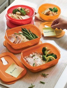 Your ideal, on-the-go meal solution. Stackable, modular shape maximizes refrigerator space. Containers nest for compact storage and feature textured, scratch-resistant bottoms.Microwave-reheatable products are not intended for cooking. Typical reheating is at 50-70% power, depending on the wattage of your microwave. Check your owner's manual for more information.